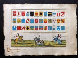 Diderot C1790 Folio Hand Col Heradly Print 12 Jousting Knights